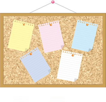 Wall-mounted cork board (thumbtack, memo, sticky note)