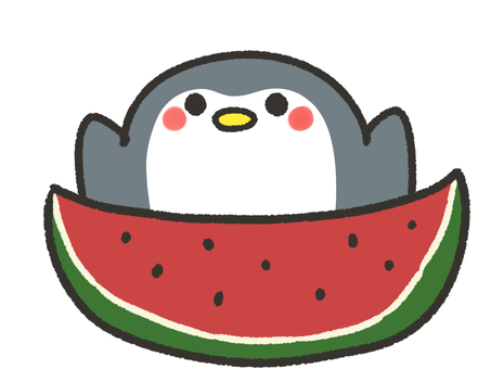 Big watermelon and penguin
