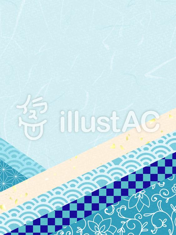 和風のフレーム05/青のイラスト