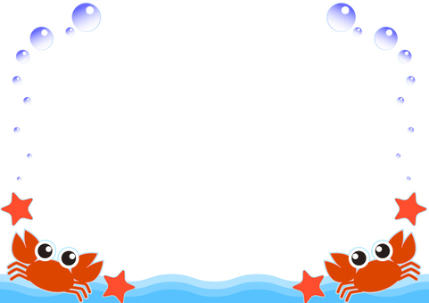 Crab and starfish and waterdrop frame