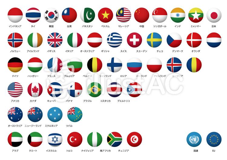 世界の国旗丸立体001イラスト No 506832無料イラストなら