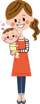 Baby hug hold apron mother whole body