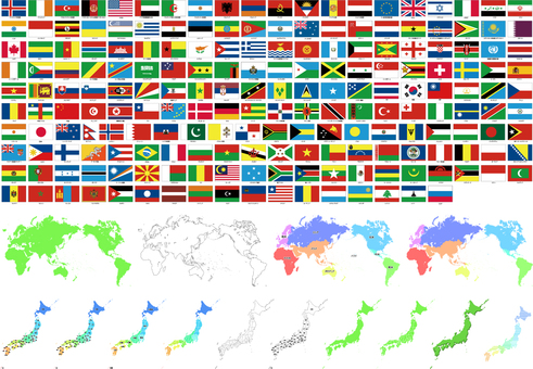 World map · Flag · Japan Map
