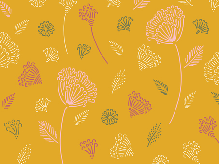 Hand painted line drawing floral pattern