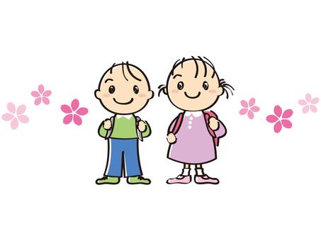 어린이 초등학생 가방 벚꽃