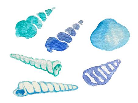 Shellfish watercolor illustration set