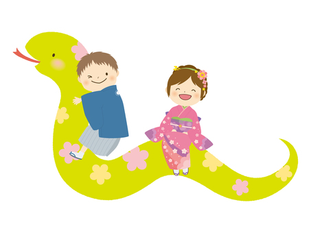 Flower pattern snake and child