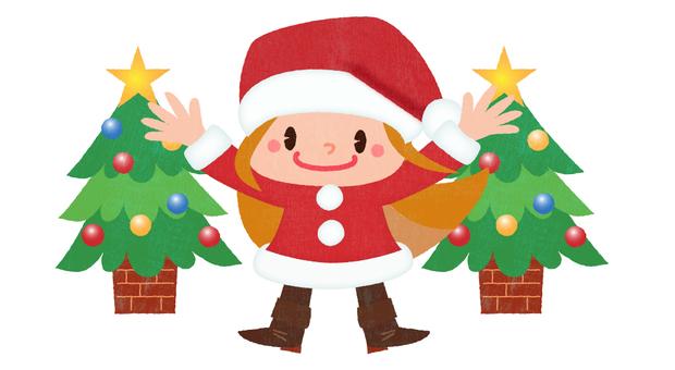 Santa girl and tree 02
