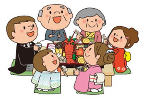 Osechi菜和和服家庭