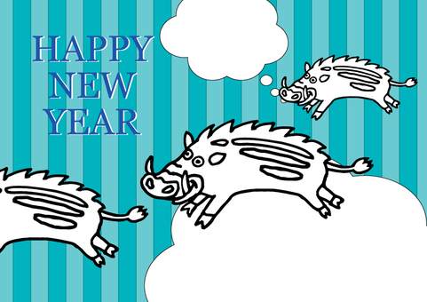 Illustrations of Year-year New Year's cards boar