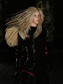 Demon woman warrior wearing jet-black armor