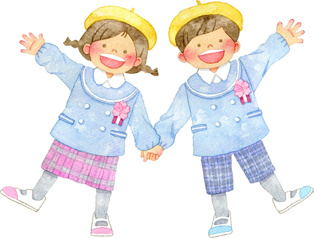Children holding hands Kobukuro child clothes