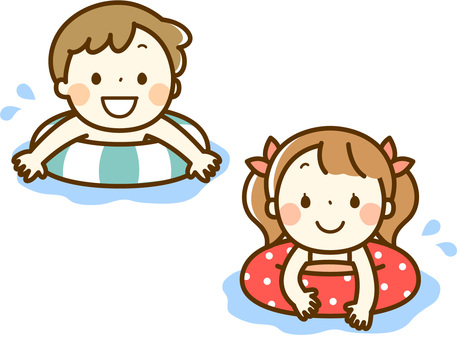 Children swimming with floating rings