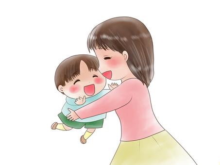 抱著父母和孩子