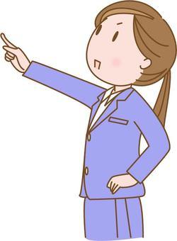 指向手指的一名婦女