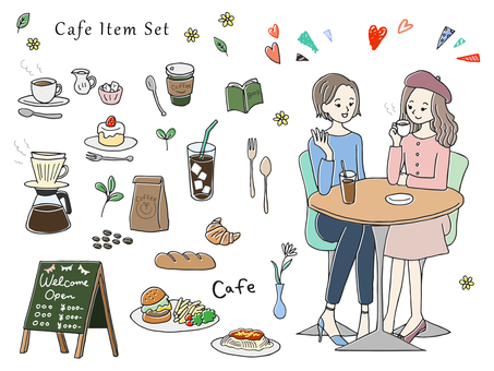Hand drawn style cafe illustration set