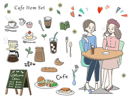手描き風 カフェのイラストセット