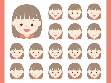 Girl facial expression set. 01