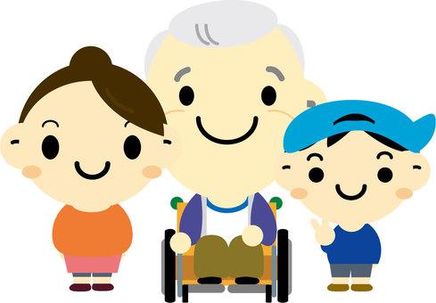 Wheelchair grandpa and grandchild's child
