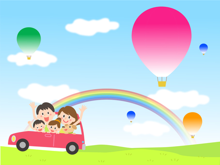 Rainbow and balloon and drive