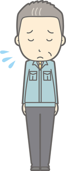 Middle-aged man work clothes - bow apology - whole body