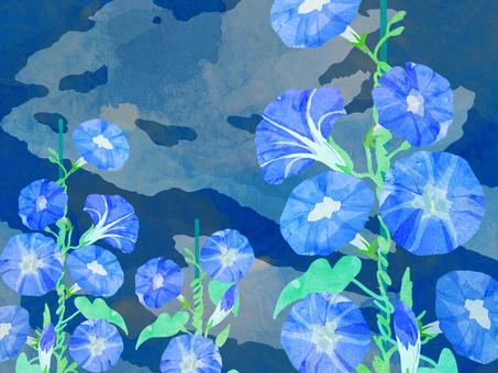朝顔 壁紙 ⑮ 水彩
