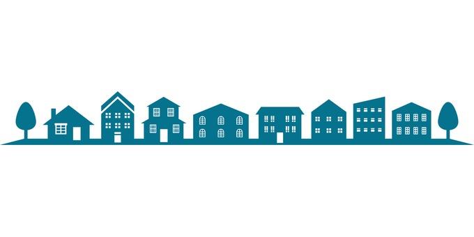 Blue building line