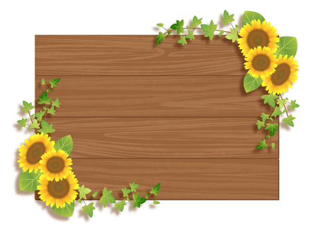 Sunflower and wood frame 02