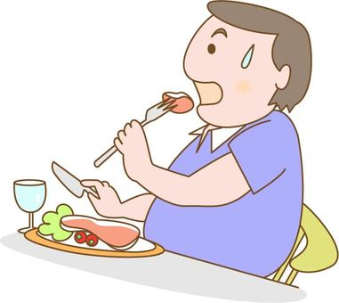 一個正在吃牛排的代謝人