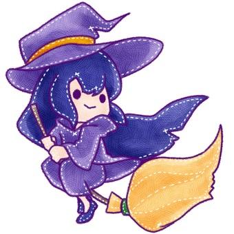 ハロウィン_フリー素材 ほうきで飛ぶ魔女