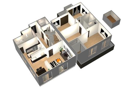 4LDK Floor plan ③ (3D stereogram · diagonal)