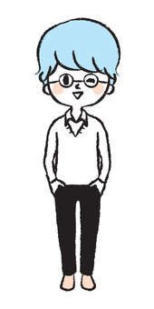 Illustration of boy with herbivorous glasses