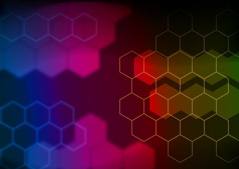 虹色の幾何学六角形抽象ボケ背景素材