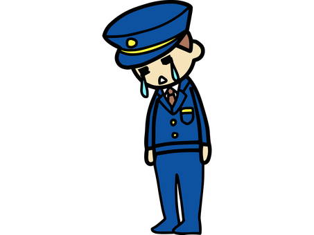 Police officer crying