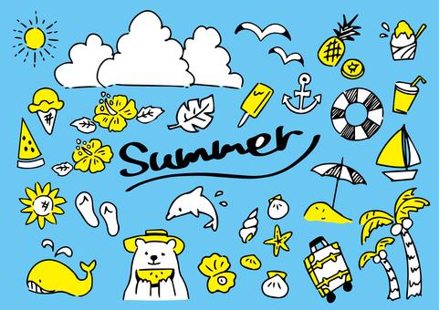 Summer cute icon set