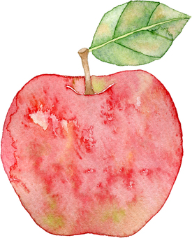 1 red apple with leaves