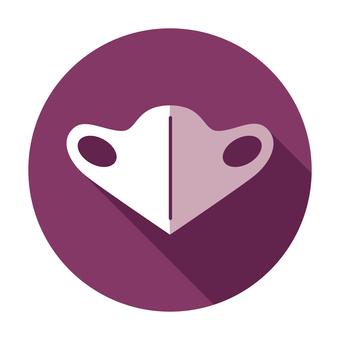 Three-dimensional mask icon (flat design)