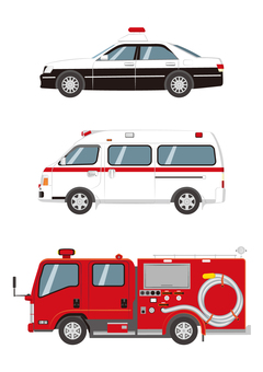 Three emergency vehicles