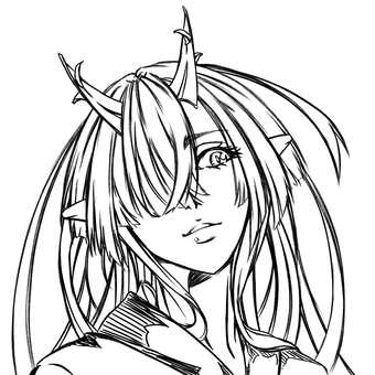 Kashima Maehi, face (line drawing)