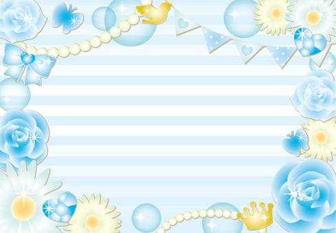 가리 꽃 테두리 프레임 (블루)