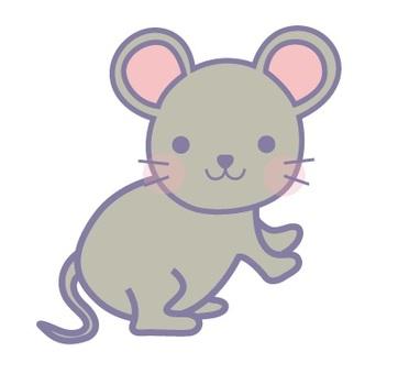 동물 일러스트 쥐 파랑