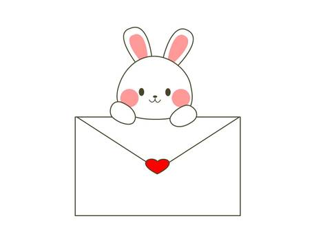 Rabbits with envelopes (heart)