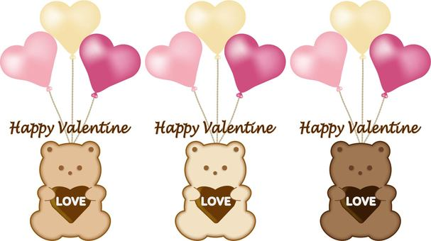Hold a bear cookie and a balloon Valentine