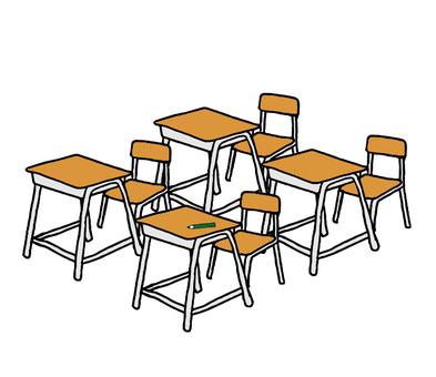 School desk multiple (simple)