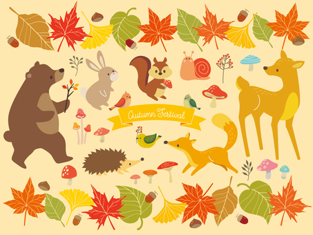 Autumn leaves frame and animal illustration (4)