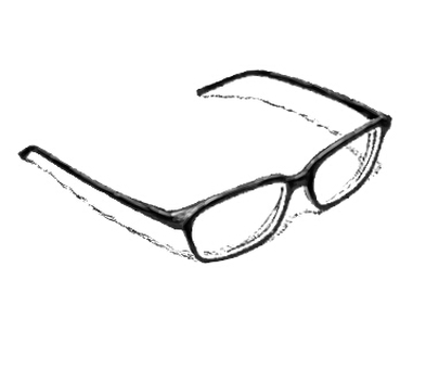 Black-faced glasses (with shadow)