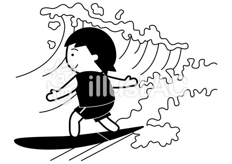 サーフィン1cのイラスト