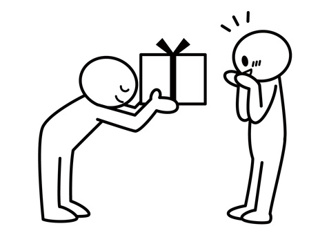 Stickman-give a present while bowing