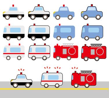 Emergency car police car ambulance fire truck