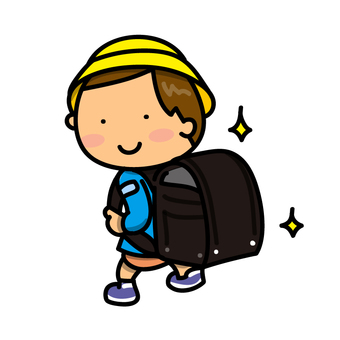 A school bag and a boy
